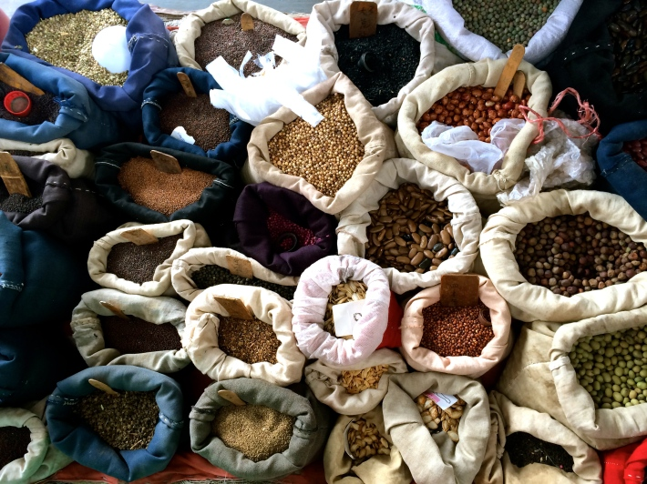 So many varieties of beans and seeds for sale