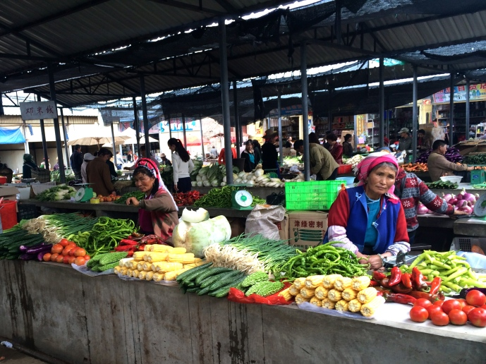 A colorful array of produce at Xizhou's morning market