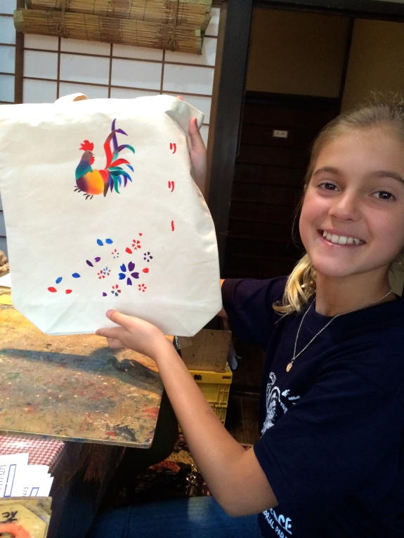 Schuyler worked really hard on this bag for her close friend at home who loves chickens.