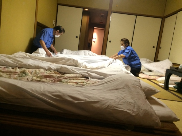 In the evening, our room with above table became our bedroom as mats are placed on the floor for us.