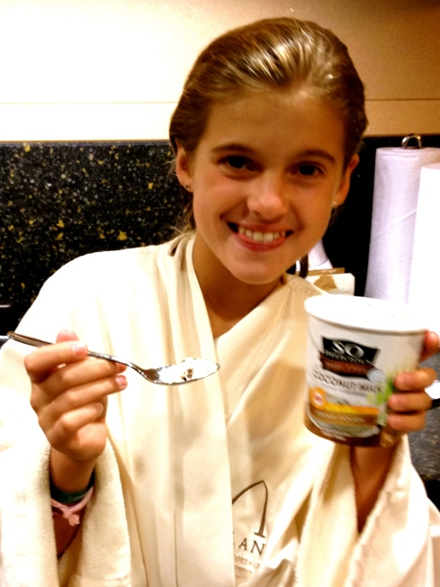 Schuyler finally gets to have some (almost) real ice cream, her favorite soy brand.