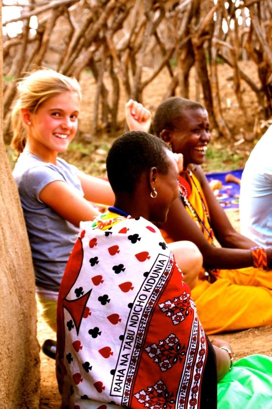 Beading with the widows in Maji Moto, Kenya
